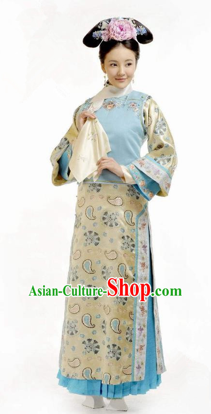 Chinese Qing Dynasty Princess Consort of YinE Mingyu Historical Costume Ancient Manchu Palace Lady Clothing for Women