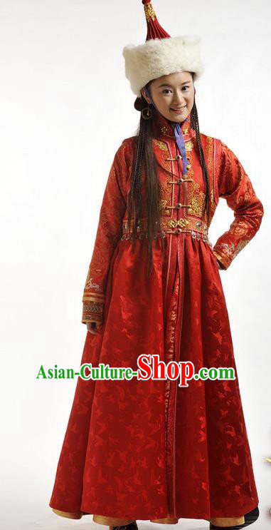 Chinese Qing Dynasty Mongolian Princess Red Robe Historical Costume Ancient Nobility Lady Clothing for Women