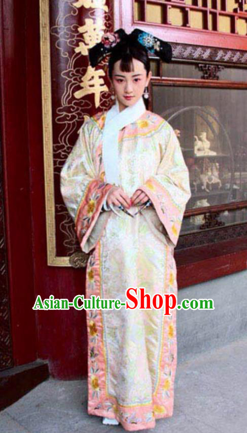 Chinese Qing Dynasty Imperial Consort Zhen of Guangxu Historical Costume Ancient Manchu Lady Clothing for Women