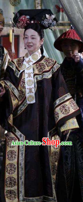 Chinese Qing Dynasty Empress Dowager of Guangxu Historical Costume Ancient Manchu Cixi Clothing for Women