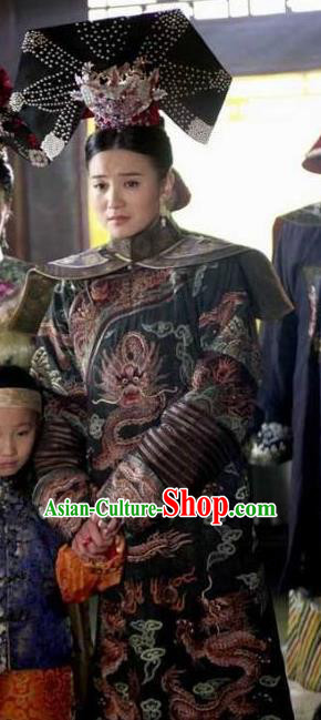 Ancient Chinese Qing Dynasty Manchu Empress Dowager Ci'an Embroidered Historical Costume for Women