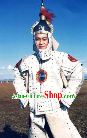 Chinese Qing Dynasty Dorgon General Historical Costume China Ancient Manchu Armour Clothing