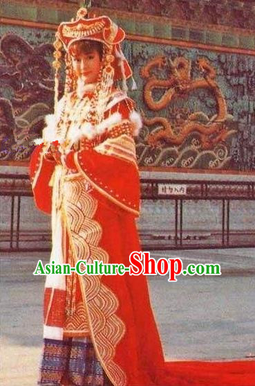 Chinese Ancient Qing Dynasty Empress Dowager Xiaozhuang Embroidered Manchu Wedding Dress Historical Costume for Women