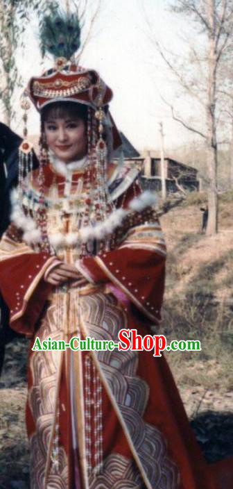 Chinese Ancient Qing Dynasty Manchu Empress Dowager Xiaozhuang Embroidered Mongolian Dress Historical Costume for Women