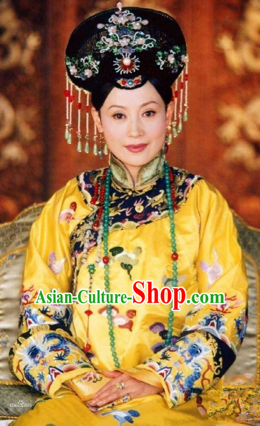 Chinese Ancient Qing Dynasty Manchu Empress Dowager Xiao Duan Embroidered Dress Historical Costume for Women