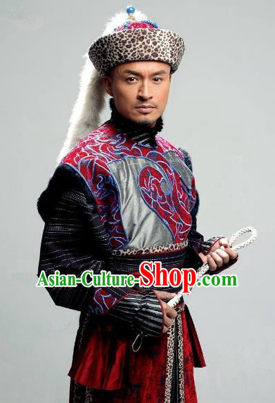 Chinese Qing Dynasty Nurhachi Historical Costume China Ancient Manchu Emperor Clothing