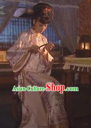 Chinese Ancient Qing Dynasty Imperial Consort of Kangxi Historical Costume Manchu Embroidered Dress for Women