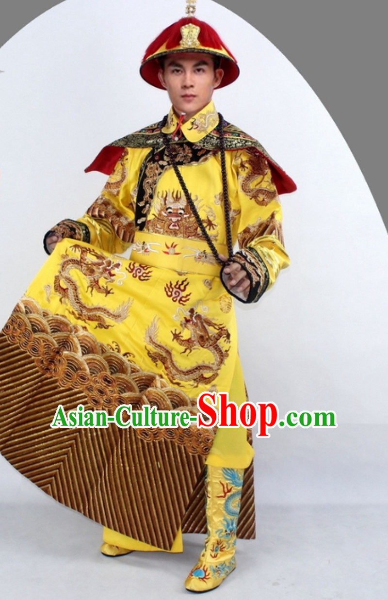 Qing Dynasty Emperor Clothing Imperial Robe Clothes for Men