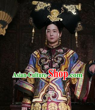 Chinese Ancient Qing Dynasty Historical Costume Manchu Empress Dowager Cixi Embroidered Dress for Women