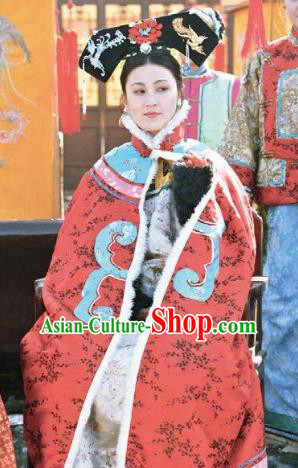 Chinese Ancient Qing Dynasty Historical Costume Empress Dowager Cixi Embroidered Dress for Women