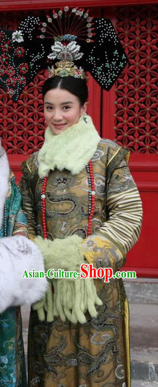 Chinese Ancient Qing Dynasty Manchu Historical Costume Empress Cian Embroidered Dress for Women