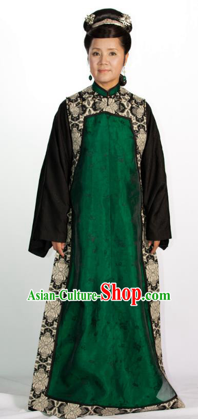 Chinese Qing Dynasty Manchu Princess Consort Historical Costume Ancient Palace Lady Clothing for Women