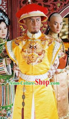 Chinese Qing Dynasty Emperor Kangxi Historical Costume Ancient Manchu King Clothing for Men