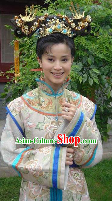 Chinese Ancient Qing Dynasty Empress of Nurhachi Replica Costumes Manchu Dress Historical Costume for Women