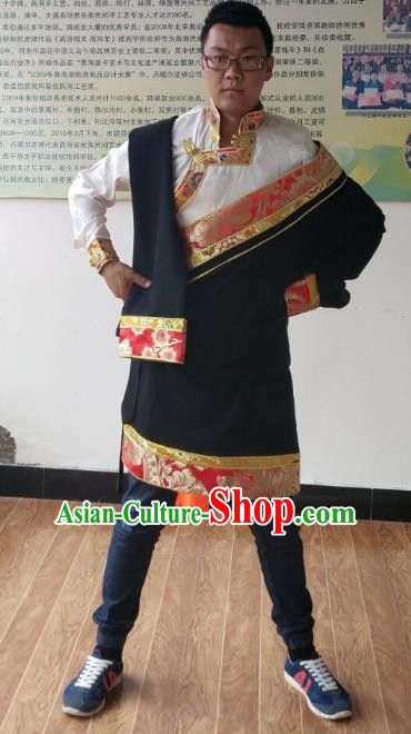 Traditional Chinese Zang Nationality Costume, Tibetan Ethnic Minority Black Tibetan Robe for Men
