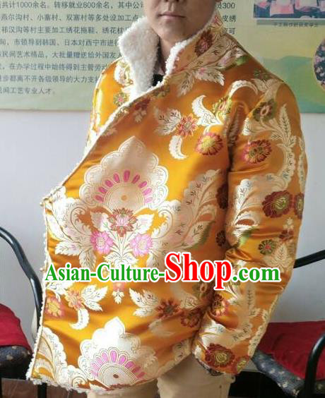 Traditional Chinese Zang Nationality Costume Brocade Cotton-padded Jacket, Tibetan Ethnic Minority Golden Coat for Men