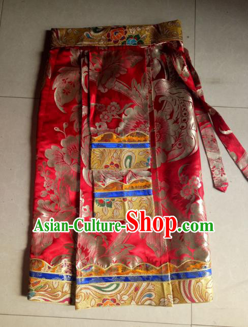 Chinese Tibetan Nationality Costume Red Skirts, Traditional Zang Ethnic Minority Dress Clothing for Women