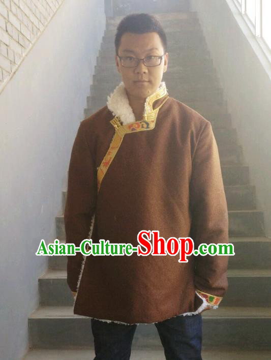 Traditional Chinese Zang Nationality Costume Brown Cotton-padded Jacket, Tibetan Ethnic Minority Shirt for Men
