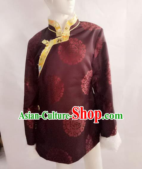 Chinese Tibetan Nationality Costume Purple Cotton-padded Jacket, Traditional Zang Ethnic Minority Clothing for Women
