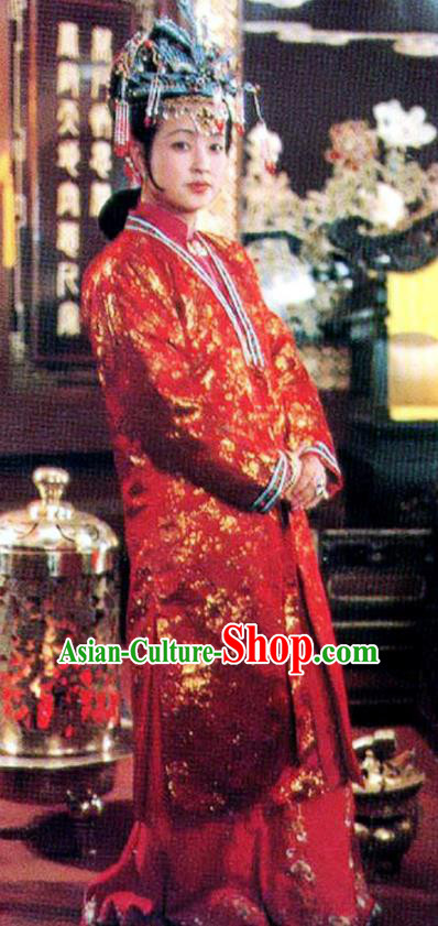 Chinese Ancient Qing Dynasty Nobility Dowager Wang Xifeng Dress Replica Costumes for Women