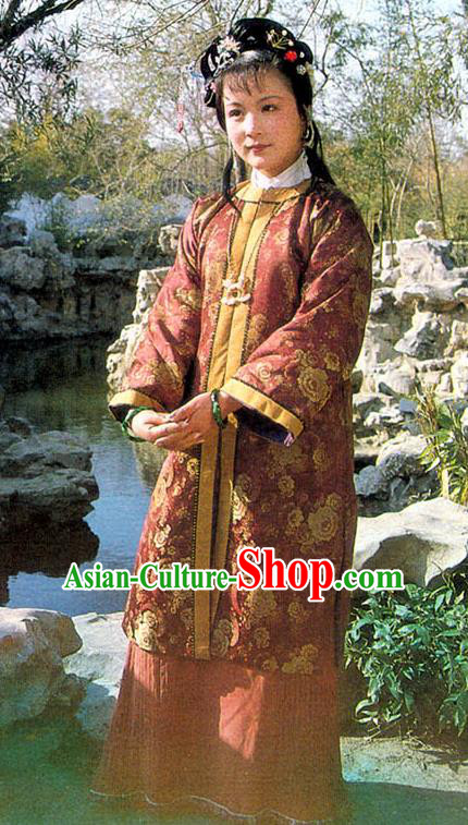 Chinese A Dream in Red Mansions Ancient Nobility Lady Shi Xiangyun Dress Replica Costumes for Women