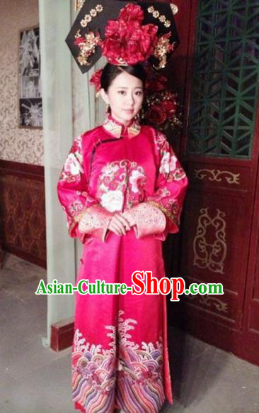 Chinese Qing Dynasty Manchu Last Empress Wanrong Embroidered Dress Replica Costumes for Women
