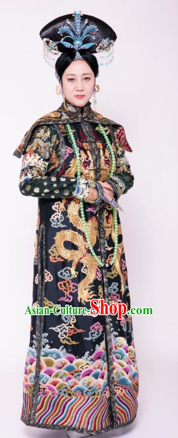 Chinese Qing Dynasty Manchu Empress Dowager Xiaozhuang Embroidered Dress Replica Costumes for Women