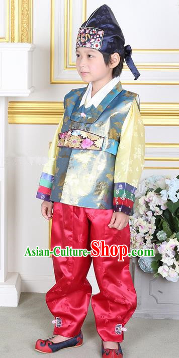 Korean Traditional Hanbok Clothing Korean Boys Hanbok Costumes Blue Shirt and Red Pants for Kids