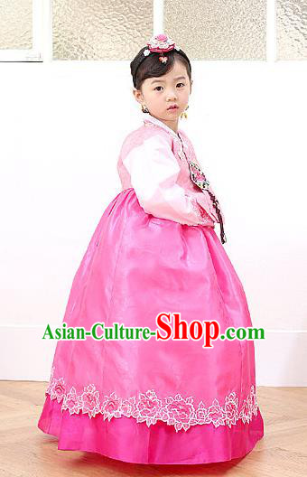 Korean Traditional Hanbok Korea Children Rosy Dress Fashion Apparel Hanbok Costumes for Kids