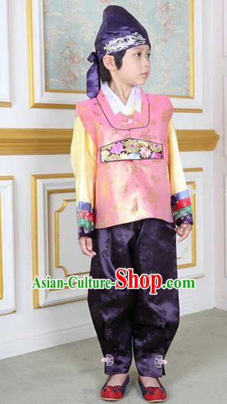 Korean Traditional Hanbok Clothing Korean Boys Hanbok Costumes Pink Shirt and Purple Pants for Kids