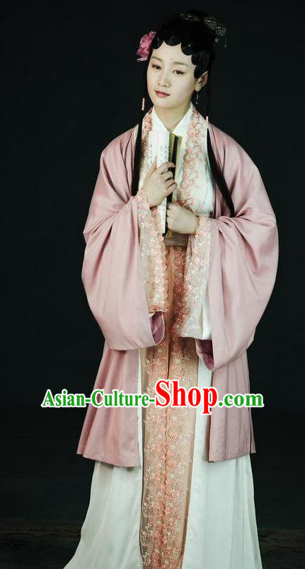 Chinese Ancient A Dream in Red Mansions Character Servant Girl Xiangling Costume for Women