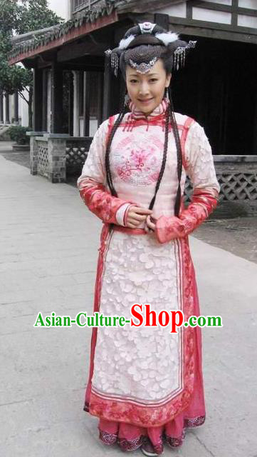 Chinese Ancient Qing Dynasty Dress Manchu Palace Princess Embroidered Costume for Women