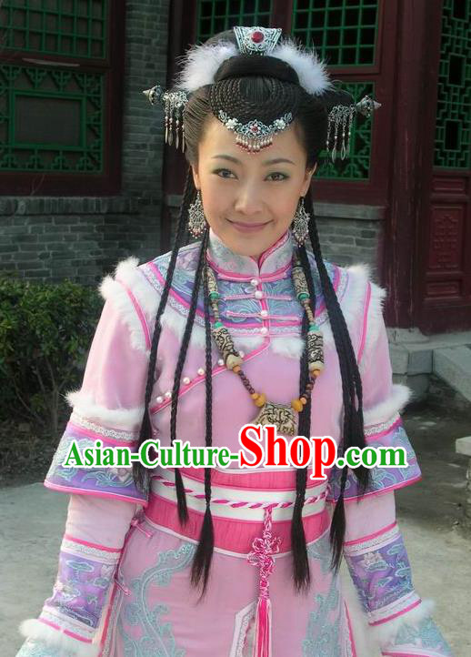 Chinese Ancient Qing Dynasty Mongolian Princess Embroidered Costume for Women