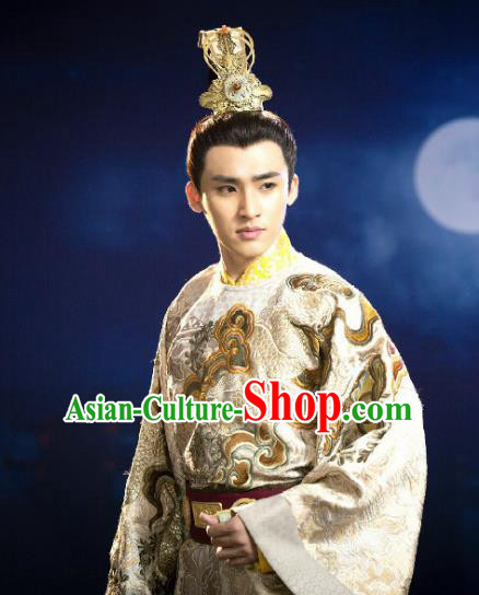 Chinese Ancient Costume Ming Dynasty Jianwen Emperor Zhu Yunwen Clothing for Men