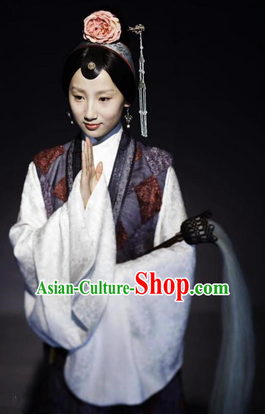 Chinese Ancient A Dream in Red Mansions Character Taoist nun Miaoyu Costume for Women