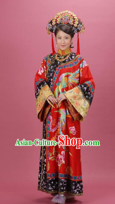 Chinese Ancient Manchu Imperial Consort Dress Qing Dynasty Palace Lady Embroidered Costume for Women