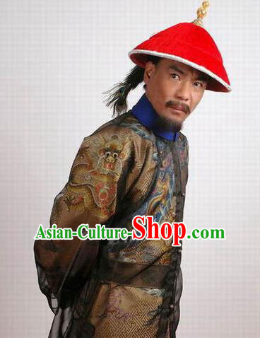 Chinese Ancient Qing Dynasty Royal Highness Wu Sangui Costume for Men
