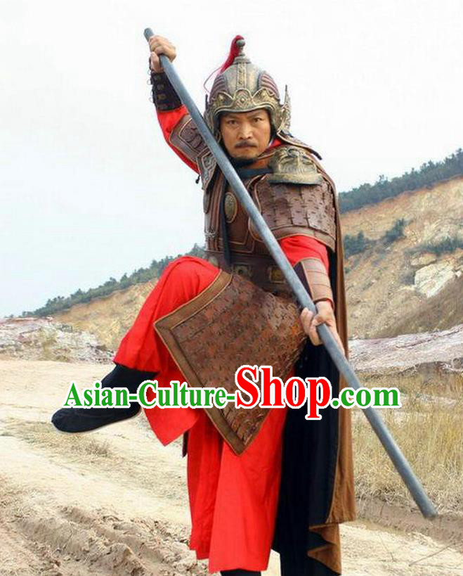Chinese Ancient Ming Dynasty Invasions General Yu Dayou Costume Helmet and Armour for Men