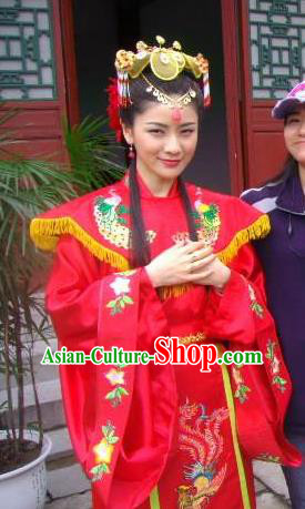 Ancient Chinese Ming Dynasty Princess of Zhu Yuanzhang Embroidered Wedding Dress Replica Costume for Women