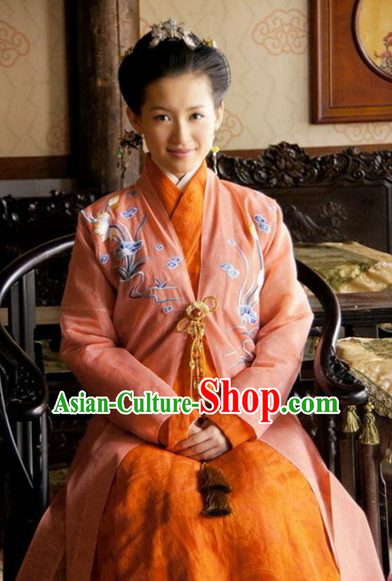 Ancient Chinese Ming Dynasty Historical Costume Nobility Lady Embroidered Replica Costume for Women