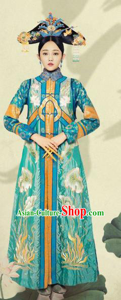 Chinese Ancient Qing Dynasty Imperial Empress Embroidered Dress Manchu Queen Replica Costume for Women