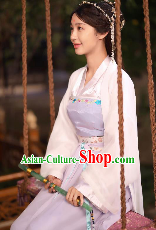 Chinese Ancient Ming Dynasty Palace Princess Embroidered Dress Costume for Women