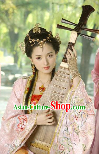Chinese Ancient Ming Dynasty Courtesan Li Xiangjun Embroidered Dress Costume for Women