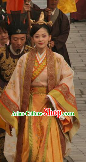 Chinese Ancient Ming Dynasty Empress Dowager Li Mother of Wanli Embroidered Dress Costume for Women