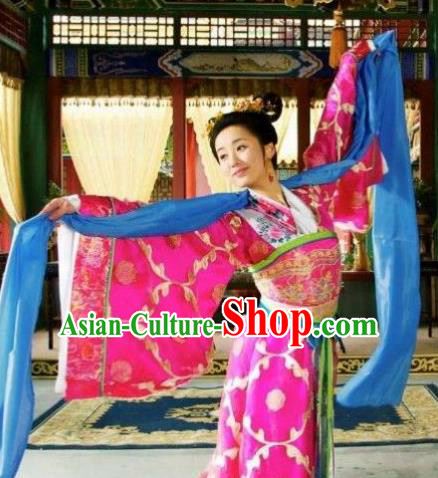 Chinese Ancient Ming Dynasty Imperial Concubine Embroidered Dance Dress Costume and Headpiece Complete Set for Women