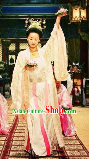 Chinese Ancient Ming Dynasty Palace Imperial Concubine Embroidered Dance Dress Costume and Headpiece Complete Set for Women