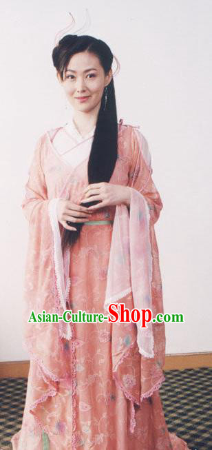 Chinese Ancient Ming Dynasty Courtesan Du Shiniang Embroidered Dress Costume for Women