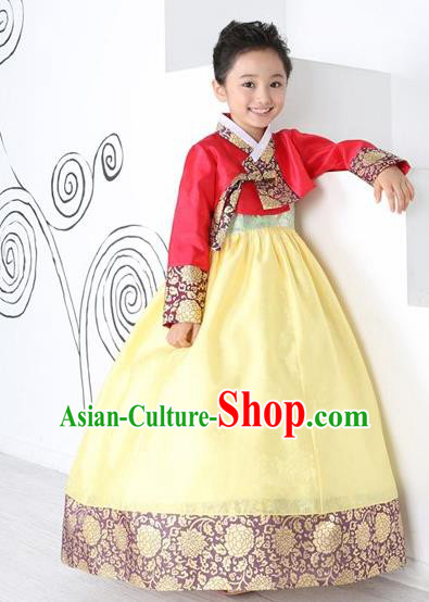 Top Grade Korean Hanbok Traditional Red Blouse and Yellow Dress Fashion Apparel Costumes for Kids