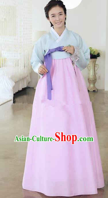Top Grade Korean Traditional Hanbok Ancient Palace Blue Blouse and Pink Dress Fashion Apparel Costumes for Women