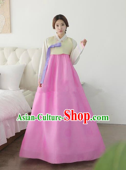 Top Grade Korean Traditional Hanbok Ancient Palace Yellow Blouse and Rosy Dress Fashion Apparel Costumes for Women